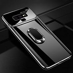 Samsung Galaxy Note 9用ハードケース プラスチック 質感もマット アンド指輪 マグネット式 A01 サムスン ブラック