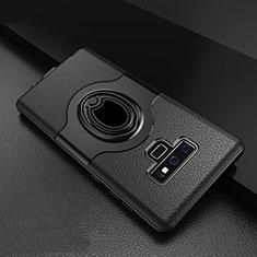 Samsung Galaxy Note 9用ハイブリットバンパーケース プラスチック アンド指輪 兼シリコーン カバー S01 サムスン ブラック