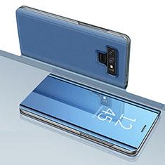 Samsung Galaxy Note 9用手帳型 レザーケース スタンド 鏡面 カバー サムスン ネイビー