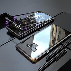 Samsung Galaxy Note 9用ケース 高級感 手触り良い アルミメタル 製の金属製 360度 フルカバーバンパー 鏡面 カバー M04 サムスン ブラック