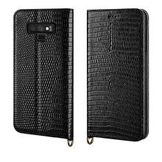 Samsung Galaxy Note 9用手帳型 レザーケース スタンド カバー P04 サムスン ブラック