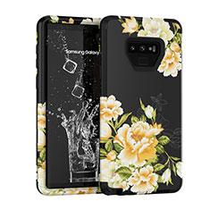 Samsung Galaxy Note 9用ハイブリットバンパーケース プラスチック 兼シリコーン カバー 前面と背面 360度 フル U01 サムスン ブラック