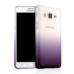 Samsung Galaxy On5 G550FY用ハードケース グラデーション 勾配色 クリア透明 サムスン パープル