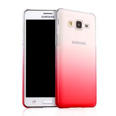 Samsung Galaxy On5 G550FY用ハードケース グラデーション 勾配色 クリア透明 サムスン レッド
