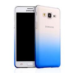 Samsung Galaxy On5 G550FY用ハードケース グラデーション 勾配色 クリア透明 サムスン ネイビー