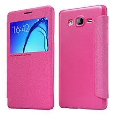 Samsung Galaxy On5 G550FY用手帳型 レザーケース スタンド サムスン ローズレッド