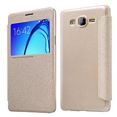 Samsung Galaxy On5 Pro用手帳型 レザーケース スタンド サムスン ゴールド