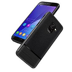 Samsung Galaxy On6 (2018) J600F J600G用シリコンケース ソフトタッチラバー レザー柄 Q01 サムスン ブラック