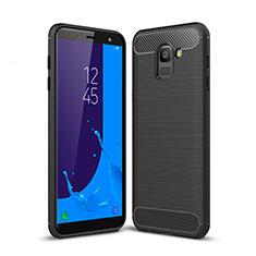 Samsung Galaxy On6 (2018) J600F J600G用シリコンケース ソフトタッチラバー ツイル サムスン ブラック