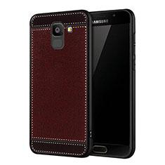 Samsung Galaxy On6 (2018) J600F J600G用シリコンケース ソフトタッチラバー レザー柄 W01 サムスン レッド