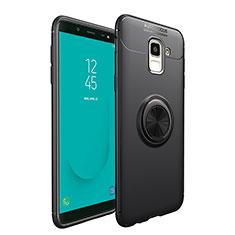 Samsung Galaxy On6 (2018) J600F J600G用極薄ソフトケース シリコンケース 耐衝撃 全面保護 アンド指輪 マグネット式 サムスン ブラック