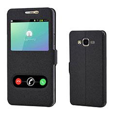 Samsung Galaxy On7 G600FY用手帳型 レザーケース スタンド カバー サムスン ブラック