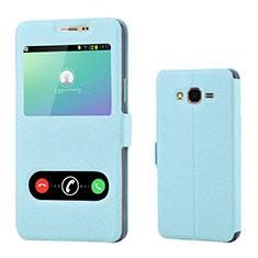 Samsung Galaxy On7 Pro用手帳型 レザーケース スタンド カバー サムスン ブルー