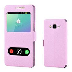 Samsung Galaxy On7 Pro用手帳型 レザーケース スタンド カバー サムスン ピンク
