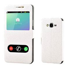 Samsung Galaxy On7 Pro用手帳型 レザーケース スタンド カバー サムスン ホワイト