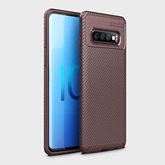 Samsung Galaxy S10 5G用シリコンケース ソフトタッチラバー ツイル カバー Y01 サムスン ブラウン