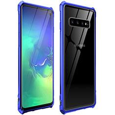 Samsung Galaxy S10 5G用ケース 高級感 手触り良い アルミメタル 製の金属製 360度 フルカバーバンパー 鏡面 カバー サムスン ネイビー