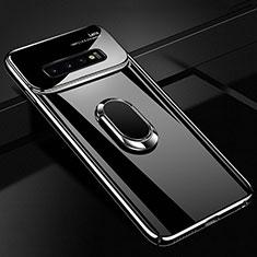 Samsung Galaxy S10 5G用ハードケース プラスチック 質感もマット アンド指輪 マグネット式 A02 サムスン ブラック