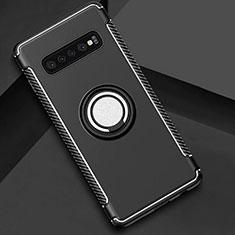 Samsung Galaxy S10 5G用ハイブリットバンパーケース プラスチック アンド指輪 マグネット式 サムスン ブラック