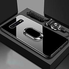 Samsung Galaxy S10 5G用ハイブリットバンパーケース プラスチック 鏡面 カバー アンド指輪 マグネット式 サムスン ブラック