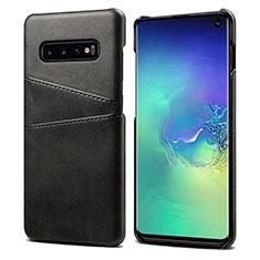 Samsung Galaxy S10 5G用ケース 高級感 手触り良いレザー柄 S03 サムスン ブラック