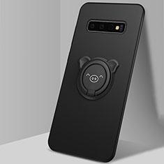Samsung Galaxy S10用極薄ソフトケース シリコンケース 耐衝撃 全面保護 アンド指輪 マグネット式 バンパー T06 サムスン ブラック
