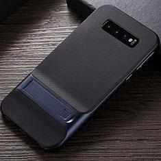 Samsung Galaxy S10用ハイブリットバンパーケース スタンド プラスチック 兼シリコーン カバー R01 サムスン ネイビー
