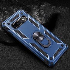Samsung Galaxy S10用ハイブリットバンパーケース プラスチック アンド指輪 マグネット式 R01 サムスン ネイビー