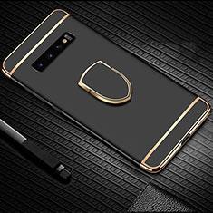 Samsung Galaxy S10用ケース 高級感 手触り良い メタル兼プラスチック バンパー アンド指輪 T01 サムスン ブラック