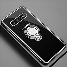 Samsung Galaxy S10用極薄ソフトケース シリコンケース 耐衝撃 全面保護 クリア透明 アンド指輪 マグネット式 C02 サムスン ブラック