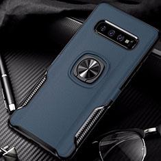 Samsung Galaxy S10用ハイブリットバンパーケース プラスチック アンド指輪 マグネット式 R02 サムスン ネイビー