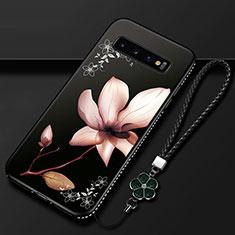 Samsung Galaxy S10用シリコンケース ソフトタッチラバー 花 カバー K01 サムスン ブラウン