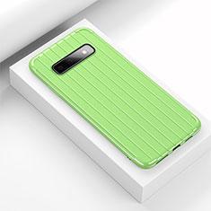 Samsung Galaxy S10用シリコンケース ソフトタッチラバー ライン カバー C01 サムスン グリーン