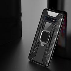 Samsung Galaxy S10用ハイブリットバンパーケース プラスチック アンド指輪 マグネット式 R04 サムスン ブラック
