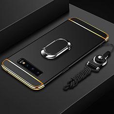 Samsung Galaxy S10用ケース 高級感 手触り良い メタル兼プラスチック バンパー アンド指輪 T02 サムスン ブラック