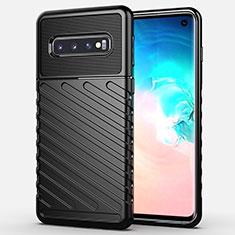 Samsung Galaxy S10用シリコンケース ソフトタッチラバー ライン カバー C02 サムスン ブラック