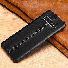 Samsung Galaxy S10用ケース 高級感 手触り良いレザー柄 R06 サムスン ブラック