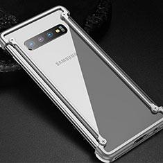Samsung Galaxy S10用ケース 高級感 手触り良い アルミメタル 製の金属製 バンパー カバー T01 サムスン シルバー