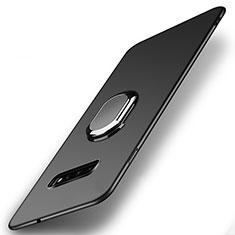 Samsung Galaxy S10用ハードケース プラスチック 質感もマット アンド指輪 マグネット式 P02 サムスン ブラック