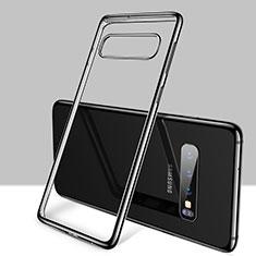 Samsung Galaxy S10用極薄ソフトケース シリコンケース 耐衝撃 全面保護 クリア透明 H01 サムスン ブラック