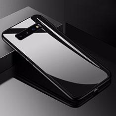 Samsung Galaxy S10用ハイブリットバンパーケース プラスチック 鏡面 カバー サムスン ブラック