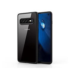 Samsung Galaxy S10用ハイブリットバンパーケース クリア透明 プラスチック 鏡面 カバー T02 サムスン ブラック