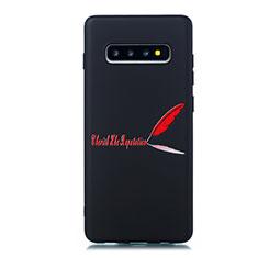 Samsung Galaxy S10用シリコンケース ソフトタッチラバー バタフライ パターン カバー S01 サムスン レッド