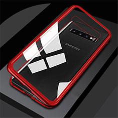 Samsung Galaxy S10用ケース 高級感 手触り良い アルミメタル 製の金属製 360度 フルカバーバンパー 鏡面 カバー M01 サムスン レッド