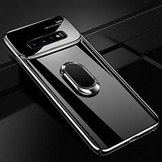 Samsung Galaxy S10用ハードケース プラスチック 質感もマット アンド指輪 マグネット式 A02 サムスン ブラック