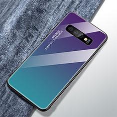 Samsung Galaxy S10用ハイブリットバンパーケース プラスチック 鏡面 虹 グラデーション 勾配色 カバー M01 サムスン マルチカラー