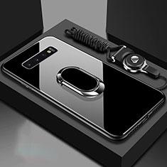 Samsung Galaxy S10用ハイブリットバンパーケース プラスチック 鏡面 カバー アンド指輪 マグネット式 サムスン ブラック