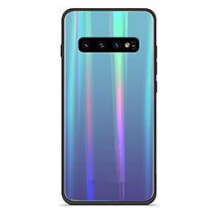 Samsung Galaxy S10用ハイブリットバンパーケース プラスチック 鏡面 虹 グラデーション 勾配色 カバー M02 サムスン ネイビー