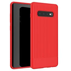 Samsung Galaxy S10用シリコンケース ソフトタッチラバー ライン カバー L01 サムスン レッド