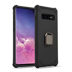 Samsung Galaxy S10用ハイブリットバンパーケース プラスチック アンド指輪 マグネット式 T01 サムスン ブラック